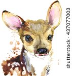 cute fawn. deer.watercolor... | Shutterstock . vector #437077003