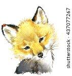 Cute Fox. Fox. Watercolor...