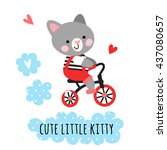 cute kitty riding a bicycle.... | Shutterstock .eps vector #437080657
