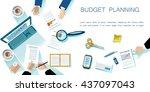 business concept. modern linear ... | Shutterstock .eps vector #437097043