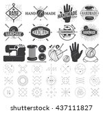 vintage hand made logo  labels  ... | Shutterstock .eps vector #437111827