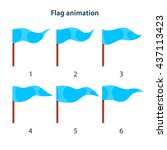 blue triangle shape flag waving ...