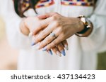 young lady showing her... | Shutterstock . vector #437134423