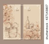 wine list cards. menu cards for ... | Shutterstock .eps vector #437143807