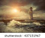 lighthouse on the sea under sky. | Shutterstock . vector #437151967