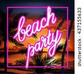 hello summer beach party flyer. ... | Shutterstock .eps vector #437155633