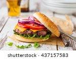 closeup of a fresh homemade... | Shutterstock . vector #437157583