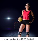 female athlete with elbow pad... | Shutterstock . vector #437174947