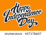 happy independence day hand... | Shutterstock .eps vector #437178607