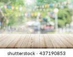 empty wooden table with blurred ... | Shutterstock . vector #437190853