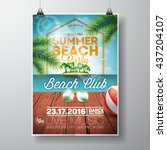 vector summer beach party flyer ... | Shutterstock .eps vector #437204107
