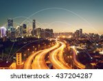 city scape and network... | Shutterstock . vector #437204287