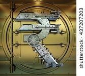 golden bank vault door....   Shutterstock . vector #437207203