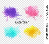set of vector watercolor spot.... | Shutterstock .eps vector #437235607