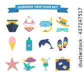 set of summer trip icons ... | Shutterstock .eps vector #437247517