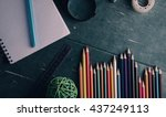 school supplies on old wooden... | Shutterstock . vector #437249113