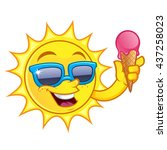 funny drawing of a sun  he has... | Shutterstock .eps vector #437258023