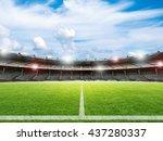 3d rendering empty soccer field ... | Shutterstock . vector #437280337