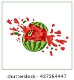 broken watermelon on white... | Shutterstock .eps vector #437284447
