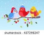 colorful birds in winter scene  | Shutterstock .eps vector #437298247