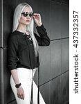 beautiful blonde girl in posing ... | Shutterstock . vector #437332357