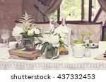 bouquet of white flowers.... | Shutterstock . vector #437332453