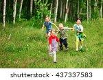 the children lead an active a... | Shutterstock . vector #437337583