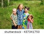 the children lead an active a... | Shutterstock . vector #437341753