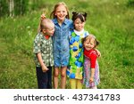 the children lead an active a... | Shutterstock . vector #437341783