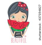 girl vector   t shirt print  ... | Shutterstock .eps vector #437354827