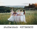 Girls In Dresses And Wreaths O...