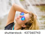 sexy woman in sunglasses and... | Shutterstock . vector #437360743