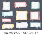 pieces of ripped white ruled... | Shutterstock .eps vector #437364847