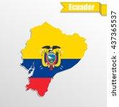 ecuador map with flag inside... | Shutterstock .eps vector #437365537