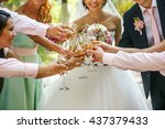 the  brides and friends drink... | Shutterstock . vector #437379433