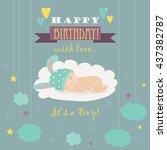 baby theme. it s a boy card   Shutterstock .eps vector #437382787