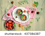 baked strawberry  crumble  on a ... | Shutterstock . vector #437386387