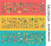 doodle vector kindergarten... | Shutterstock .eps vector #437401783