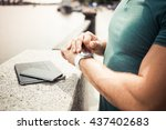 close up of a man 's hand with... | Shutterstock . vector #437402683