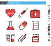 medical icon vector set mobile... | Shutterstock .eps vector #437408143