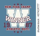new york sport wear typography... | Shutterstock .eps vector #437419777