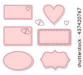 labels pink with sewing... | Shutterstock .eps vector #437420767
