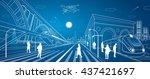 railway station  big bridge ... | Shutterstock .eps vector #437421697