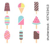 ice cream and popsicle on... | Shutterstock .eps vector #437423413