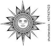 vintage hand drawn sun eclipse. ... | Shutterstock .eps vector #437437423