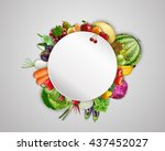 empty plate with fruits and... | Shutterstock .eps vector #437452027