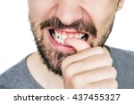 male lips with untrimmed beard... | Shutterstock . vector #437455327