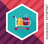 shopping cart flat icon with... | Shutterstock .eps vector #437487067