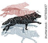 Vector Wolves In Abstract...