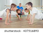 happy sporty children in gym. | Shutterstock . vector #437516893